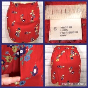 Cooperative Red Floral Mini Shirt Small